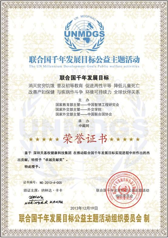 联合国千年发展目标荣誉证书